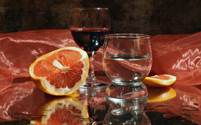 still life, goblet, wine, orange, silk, reflection