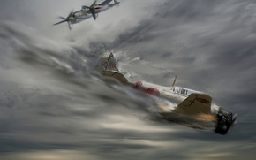 арт, рисунок, самолёты, война, битва