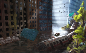 Art, city, ruins, devastation, postapokalipsis, metro, cars, water, flooding, boat, building, Birds