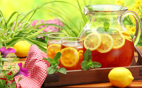 decanter, table, napkin, glasses, tea, Cold, drink, lemon, mint, Flowers, greens
