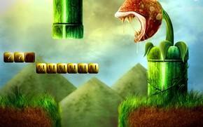 Art, level, monster, jaws, land, grass, pipe, failure, pyramids, flower, cubes