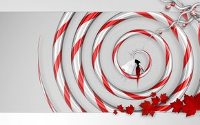 spiral, girl, leaves, red