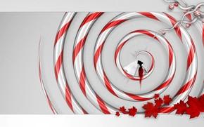 спираль, девушка, листья, красный