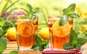 table, napkin, glasses, lemon, mint, tea, iced tea, drink, misted glass