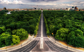 widok, Ulica, aleja, Berlin, park