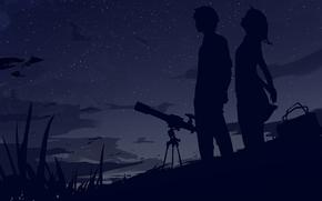Ночь, небо, звезды, двое, силуэты, телескоп, сумка, ветер, облака