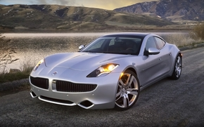 Fisker, karma, hybrid, sedan, front, silver, road, coast, water, Mountains, Other brands