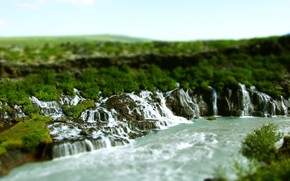 nature, waterfalls, river, Boulders, Tilt Shift