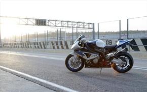 BMW, motocicletta, Bicicletta, autostrada, sole, cielo, motocicli