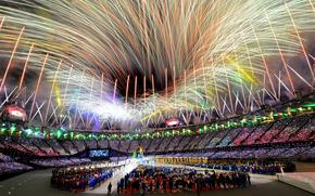 Londyn, olimpiada, stadion, pozdrawia, zamknicie