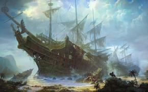 芸術, 船, バショウカジキ, 巨人, スケルトン, 残骸, karablekrushenie, ライダー, 馬, 海岸, 海, 手のひら, 見つける