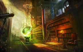 арт, библиотека, комната, шар, сфера, магия, книги, полки, кресло, телескоп, паутина, свеча, лестница