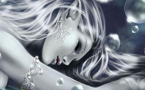 девушка, украшение, закрытые глаза, пузыри, острые уши