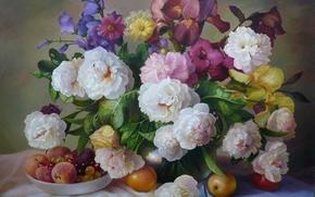 букет, цветы, фрукты, живопись