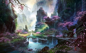 Art, landscape, Asia, river, temple, sakura, Trees, waterfall, girl, Petals, Mountains, rocks