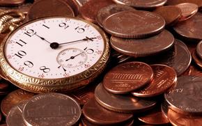 время, часы, монеты, цифры, числа