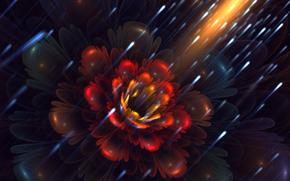 арт, фрактал, цветок, лепестки, светлячки