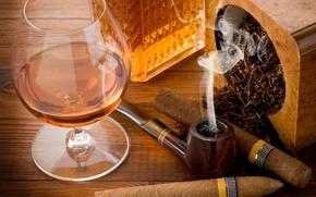 table, goblet, Brandy, tobacco, Cigars, tube