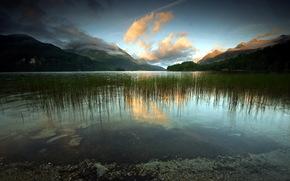 озеро, закат, горы, пейзаж