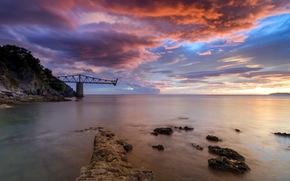 mare, tramonto, cielo, ponte, paesaggio