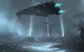 spacecraft, fleet, planet, Mountains, spiers, Lightning