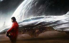 арт, космос, планета, корабль, лётчики
