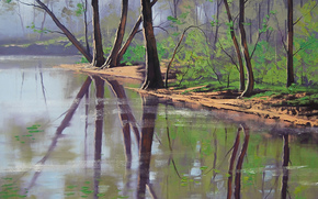 Arte, disegno, fiume, foresta