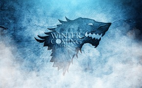 The game of thrones, A Song of Ice and Fire, series, Stark, coat of arms, wolf, Winter is approaching