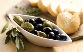 еда, салат, оливки, хлеб, листья, фон
