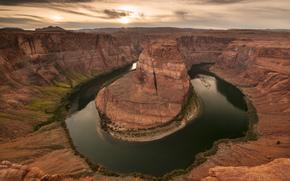 canyon, river, horseshoe, rocks