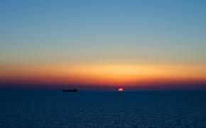 sunset, sun, disk, sea, Tanker, dry-cargo ship, ship