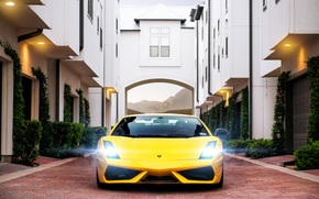 Lamborghini, Lamborghini, Gallardo, superlegera, yellow, building, garages, sett, highlight, Lamborghini