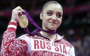 Алия Мустафина, девушка, красотка, спортсменка, гимнастка, чемпионка мира, олимпийская чемпионка, лицо, золотая медаль, РОССИЯ, фон