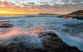 海, 波浪, 日落, 岩石, 景观