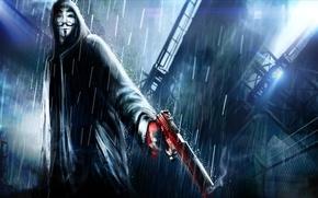 v for vendetta, film, Art, picture, man, mask, cloak, gun, smoke, rain, darkness, film, Movies, movie