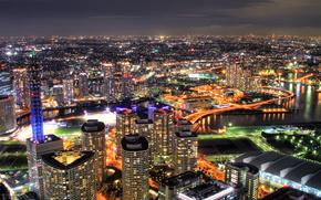 город, ночь, свет