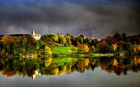 Naturaleza, lago, otoo, castillo