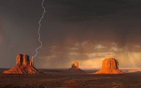 sky, lightning, Mountains