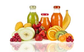 бутылочки, натуральный сок, фрукты, клубника, яблоки, кива, апельсины, банан, отражение
