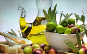 стол, тарелка, графин, масло, оливки, хлеб, плошка