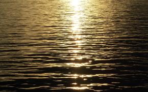 Struttura, paesaggi, tramonto, sole, acqua, fiume, onde, oro