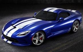 Dodge, Viper, Supercar, blue, front, CDs, band, beautiful machine, background, Dodge