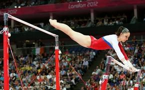 Aliya Mustafina, girl, babe, sportswoman, Gymnast, World champion, Olympic champion, face, figure, feet, bars, Russia, background