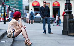 城市, 街道, 女孩
