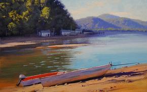 Arte, disegno, Barche, fiume