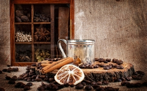 coffee, drink, grain, Sticks, cinnamon, cabinet, Spices