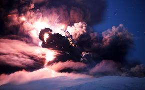 Eyjafjallajkull, volcano, eruption, Iceland, Lightning, smoke, ash