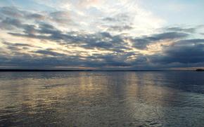 paesaggi, natura, tramonto, acqua, fiume, sole, ondulazione, raggi, nuvole, riflessione