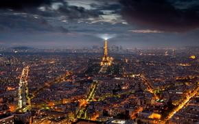 города, город, париж, ночь, эйфелева, башня