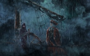 Art, rain, Downpour, ship, Pirates, sailing ship, Capt., girl, sea, storm